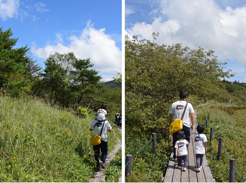 長野県霧ヶ峰高原八島湿原:がんばって歩く子ども達