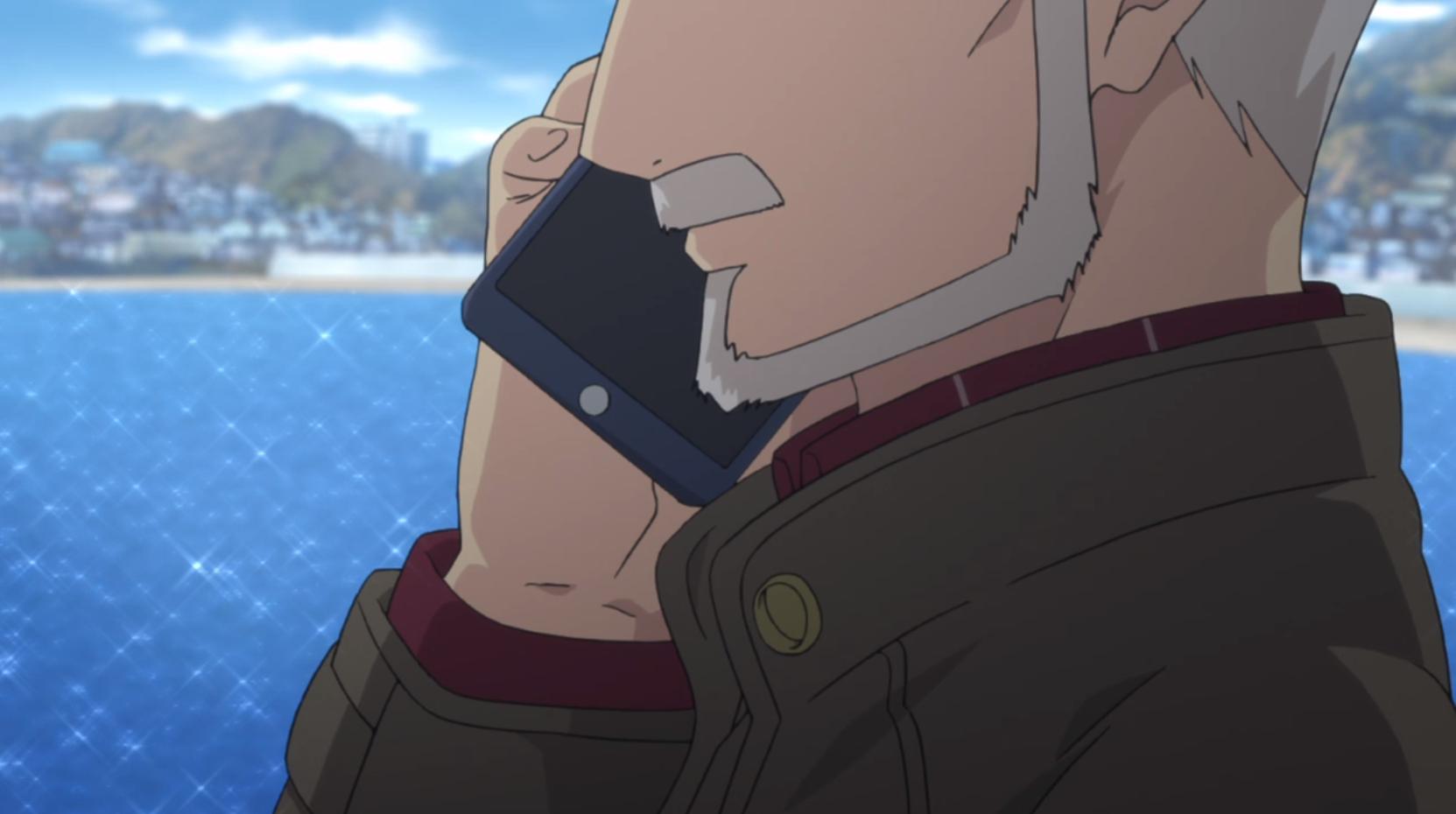 アニメ『ゆるキャン△』7話で志摩リンのママと電話するおじいちゃん