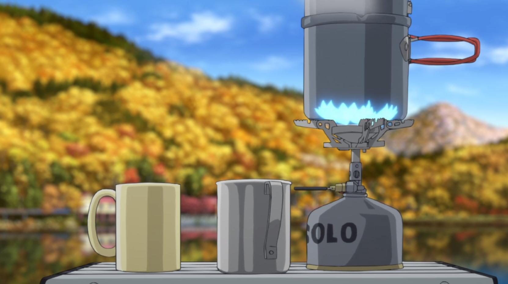 アニメ『ゆるキャン△』7話 のココアを沸かすシーン