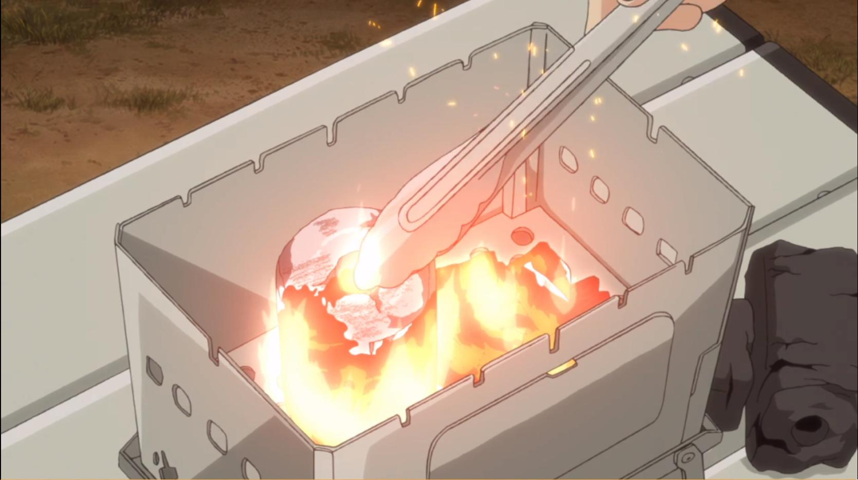 アニメ『ゆるキャン△』7話 の成型炭の使い方1