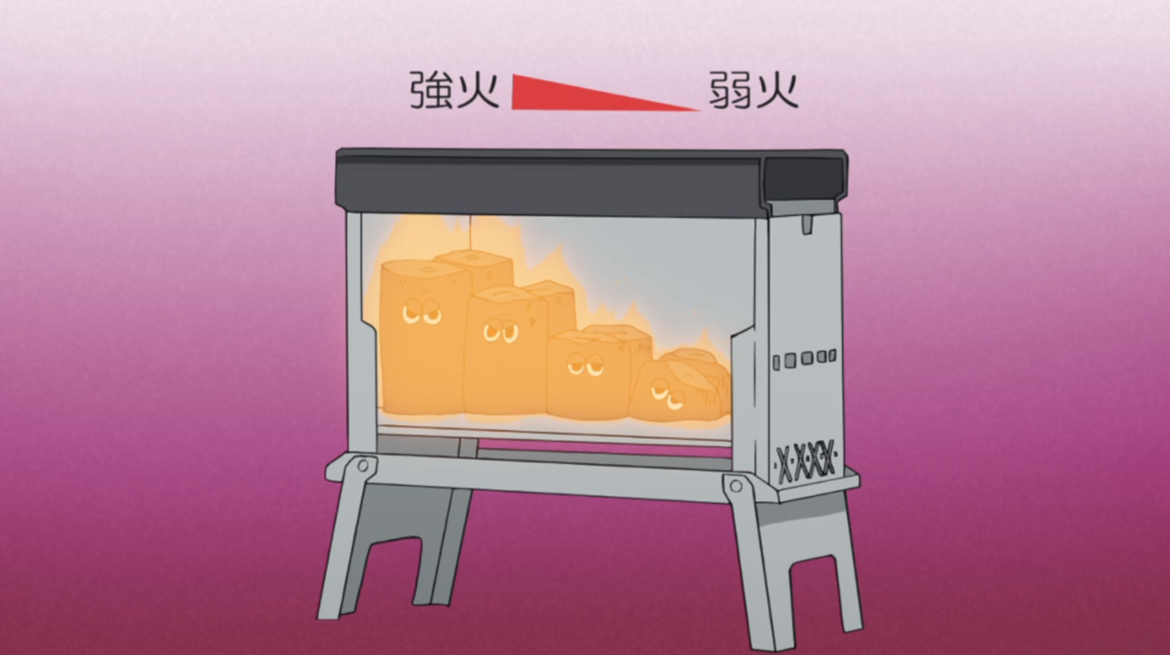 アニメ『ゆるキャン△』7話 の炭火焼グリル火加減