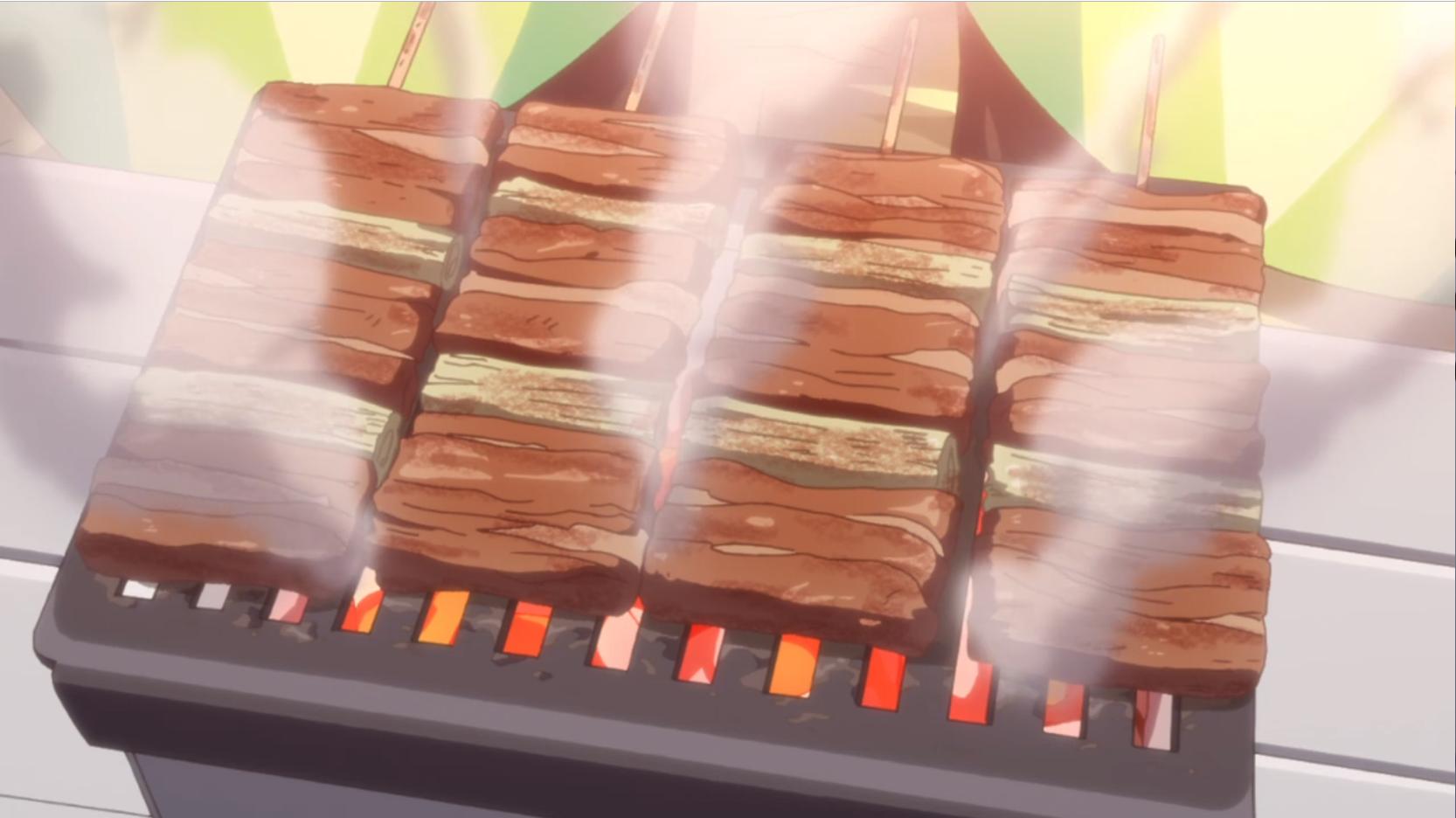 アニメ『ゆるキャン△』7話 の炭火焼グリルで串焼き
