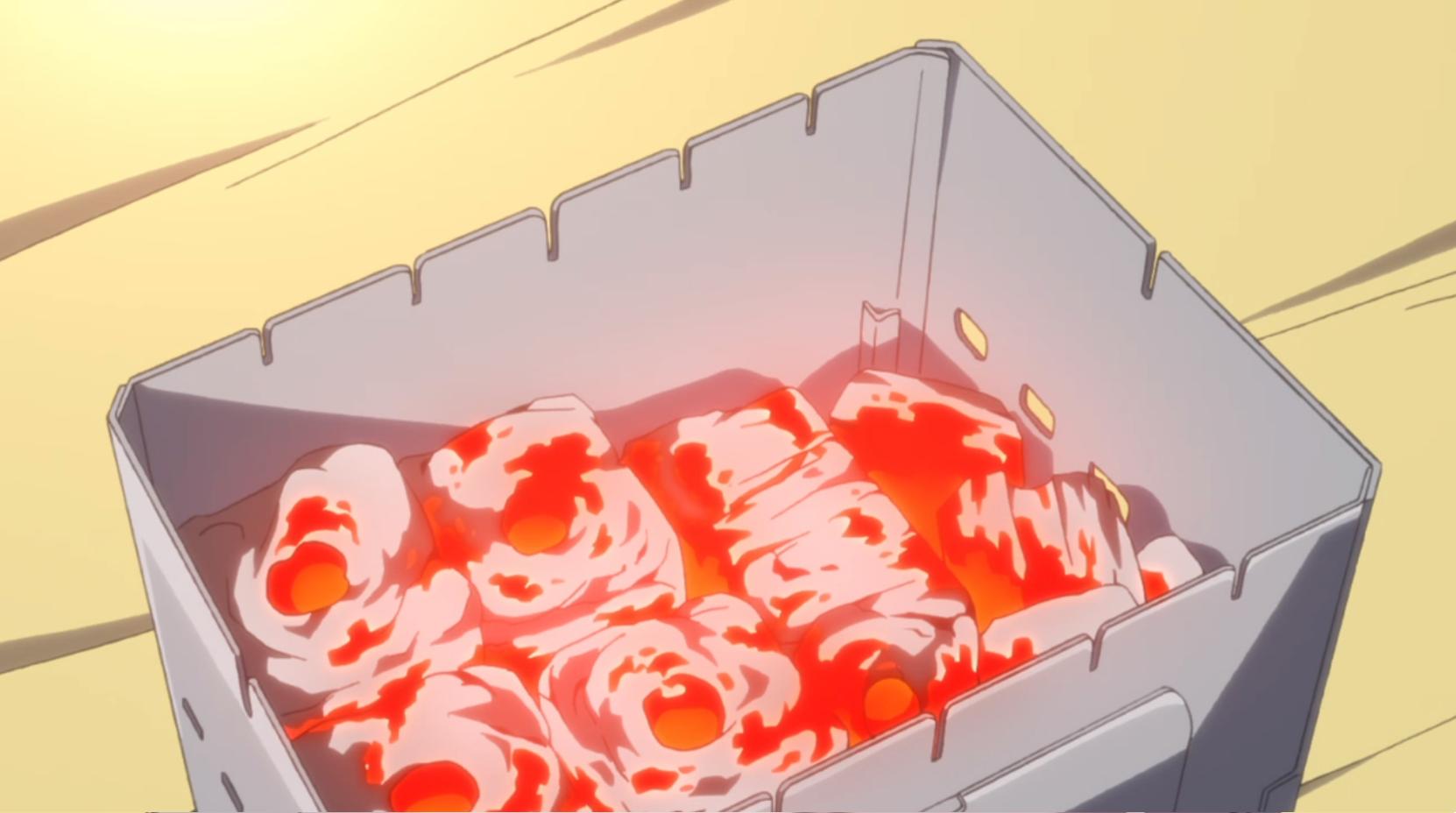 アニメ『ゆるキャン△』7話 の備長炭は持ちがいい