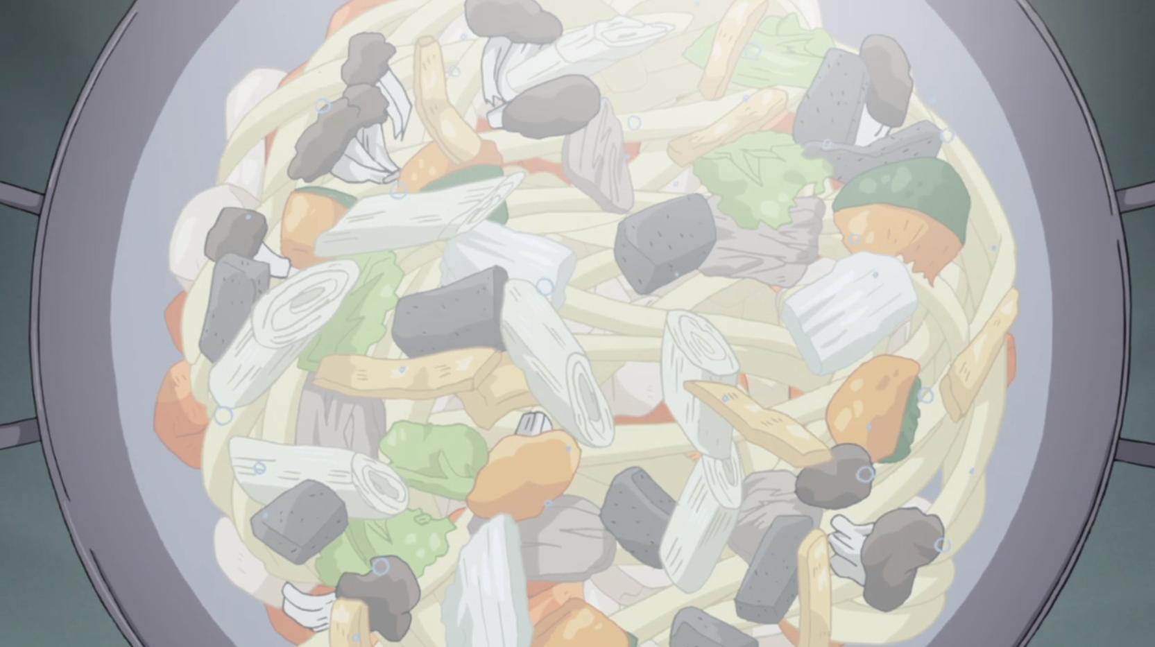 アニメ『ゆるキャン△』9話で大垣千明が作るほうとうの出来上がり