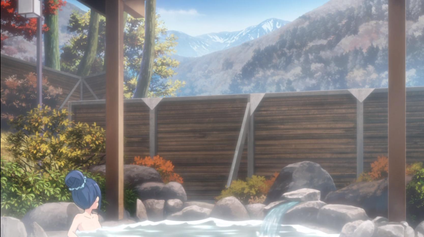アニメ『ゆるキャン△』9話のこまがねの湯((こまくさの湯)から見る景色