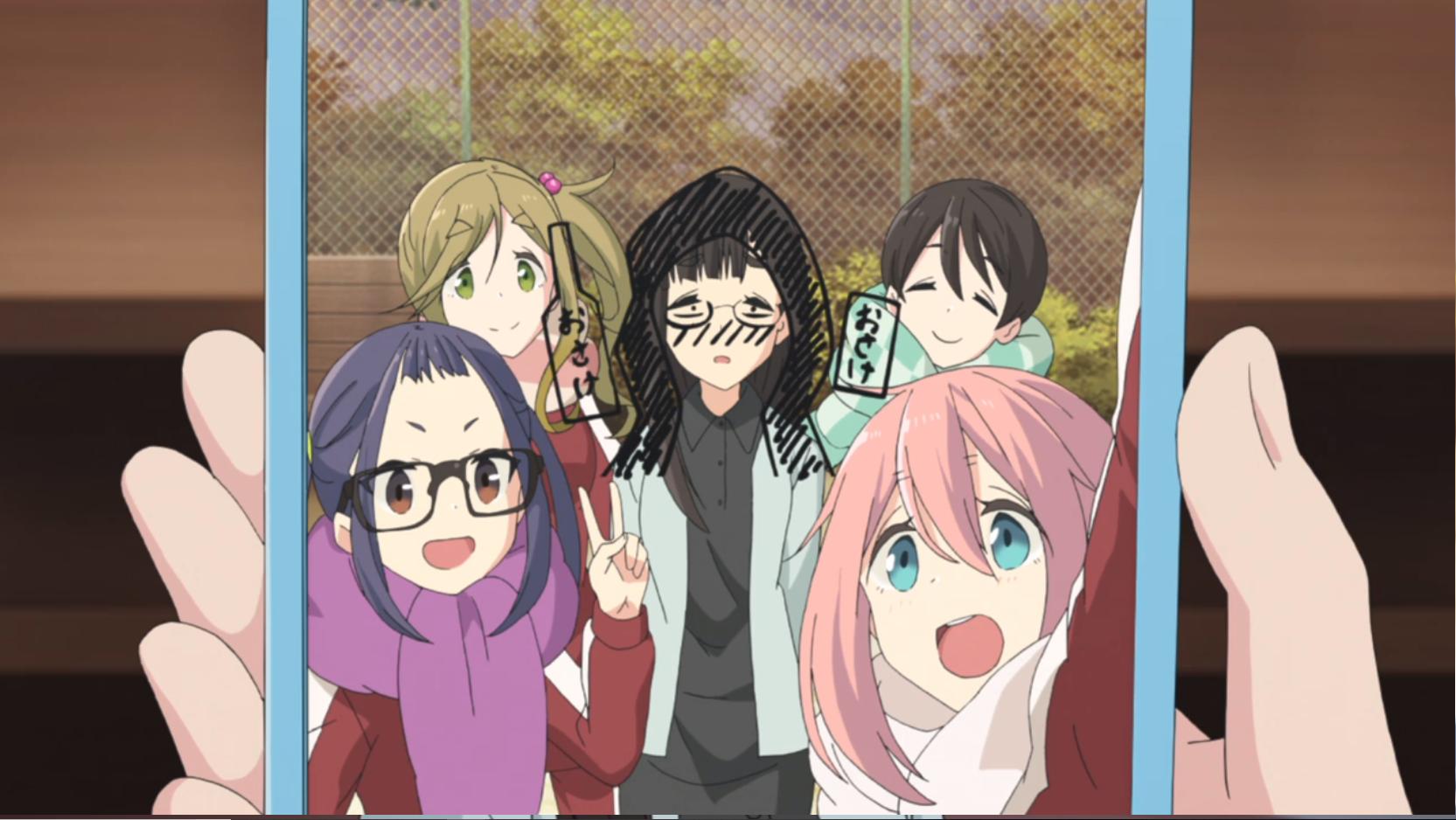 アニメ『ゆるキャン△』10話の野クルメンバーと斉藤さんと鳥羽先生
