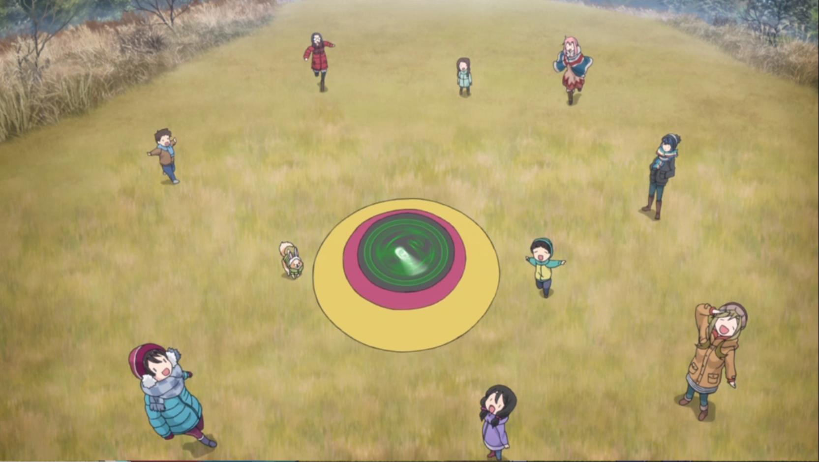 アニメ『ゆるキャン△』11話の朝霧高原でみんなで遊ぶ