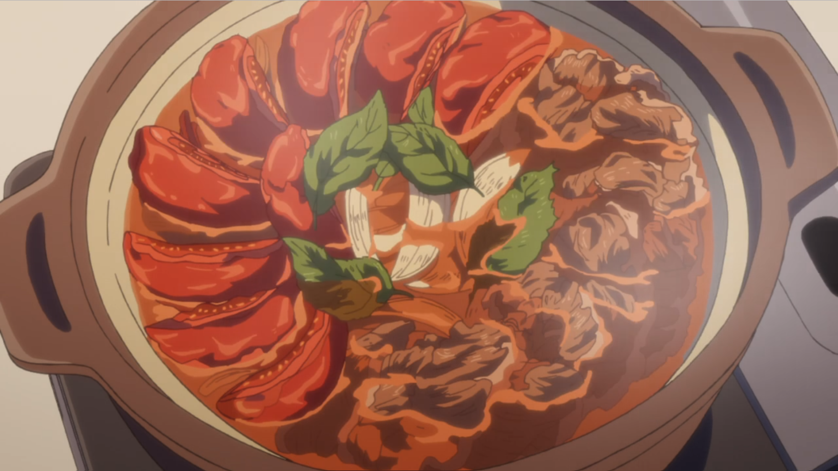 アニメ『ゆるキャン△』11話のすき焼きをトマトで味変