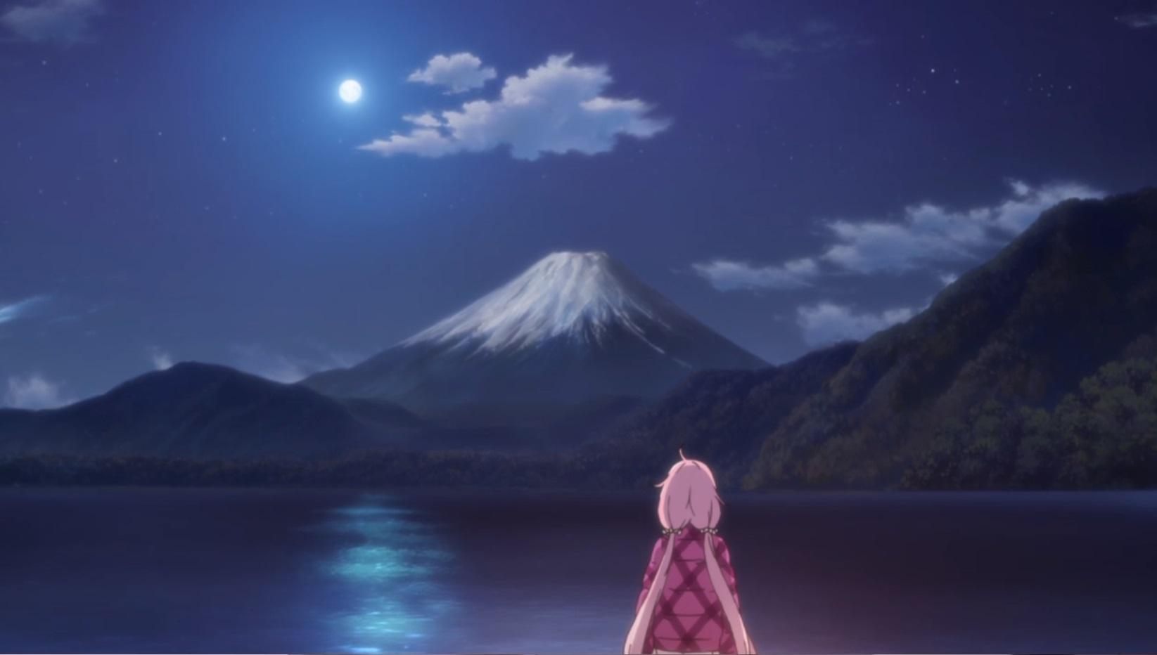 アニメ『ゆるキャン△』1話の本栖湖からの富士山
