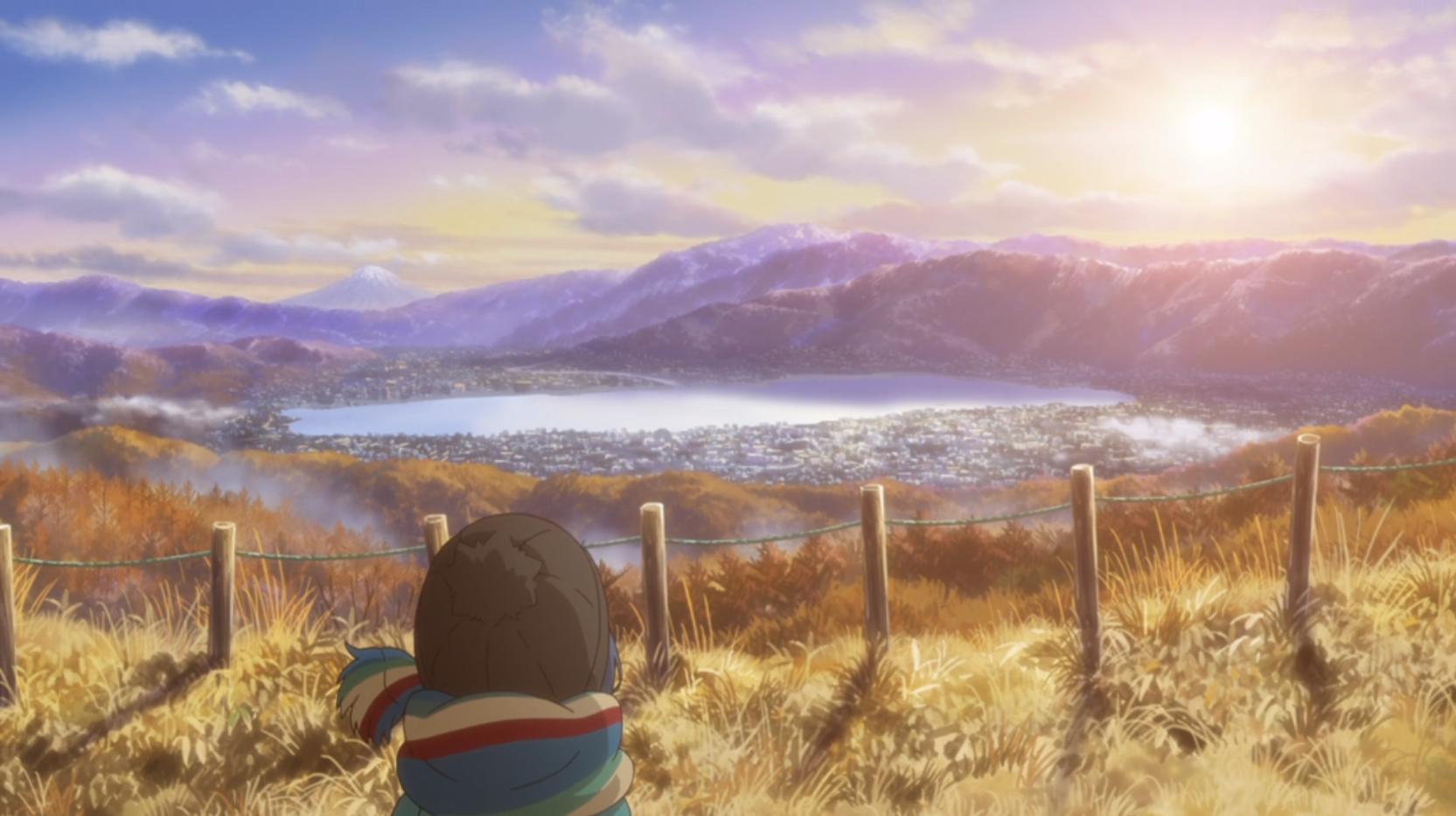 ニメ『ゆるキャン△』5話の高ボッチ高原頂上からの富士山側の景色