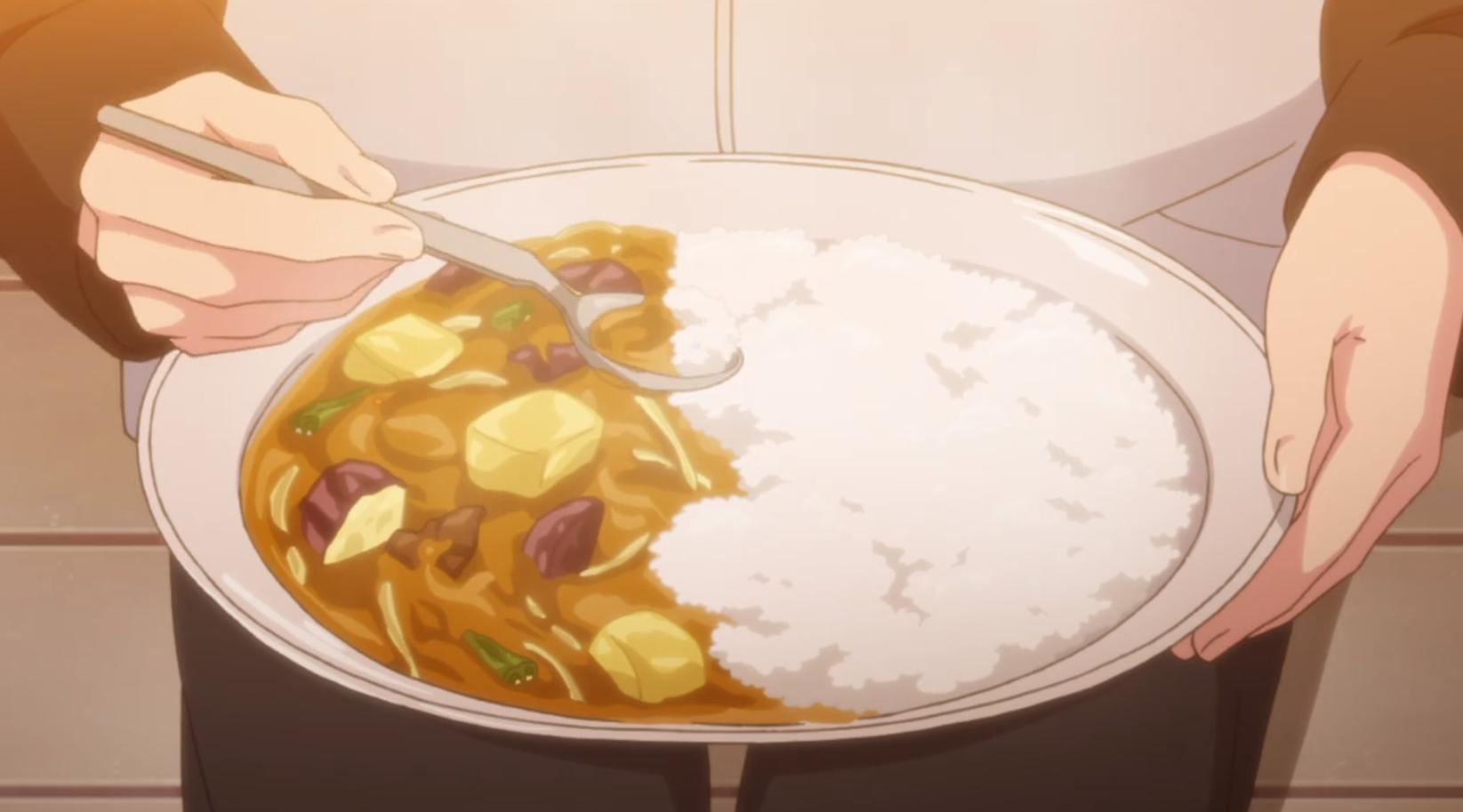 アニメ『ゆるキャン△』5話のなでしこが土鍋で作る豚骨煮込みカレー出来上がり!