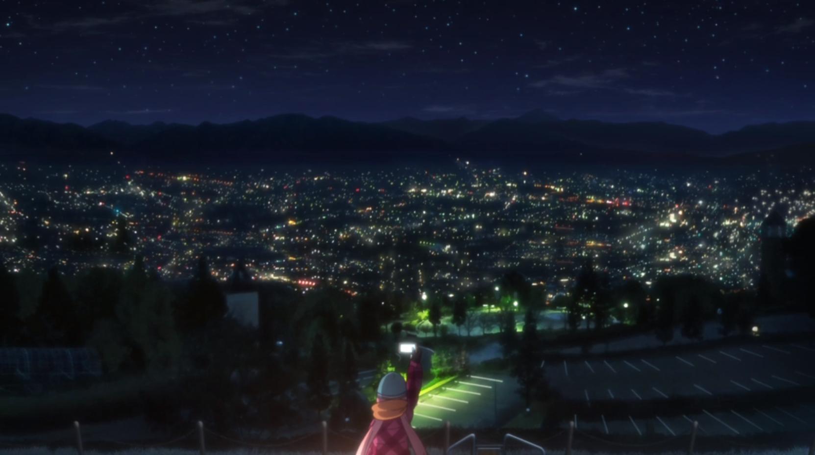 アニメ『ゆるキャン△』5話のなでしこが見た夜景
