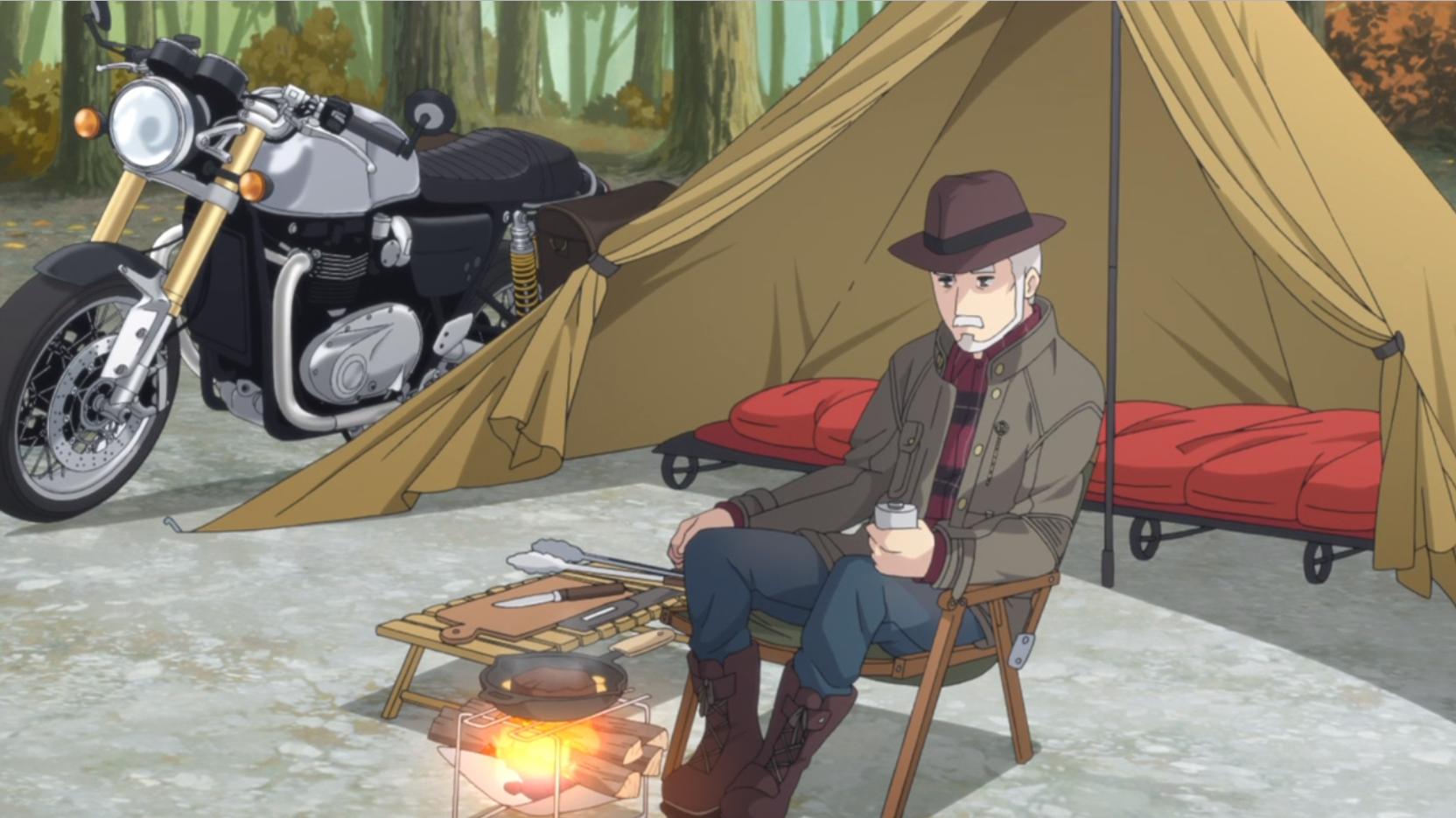 アニメ『ゆるキャン△』6話で大垣千明は志摩リンのおじいちゃんと思しきダンディな老人にステーキをご馳走になるシーン
