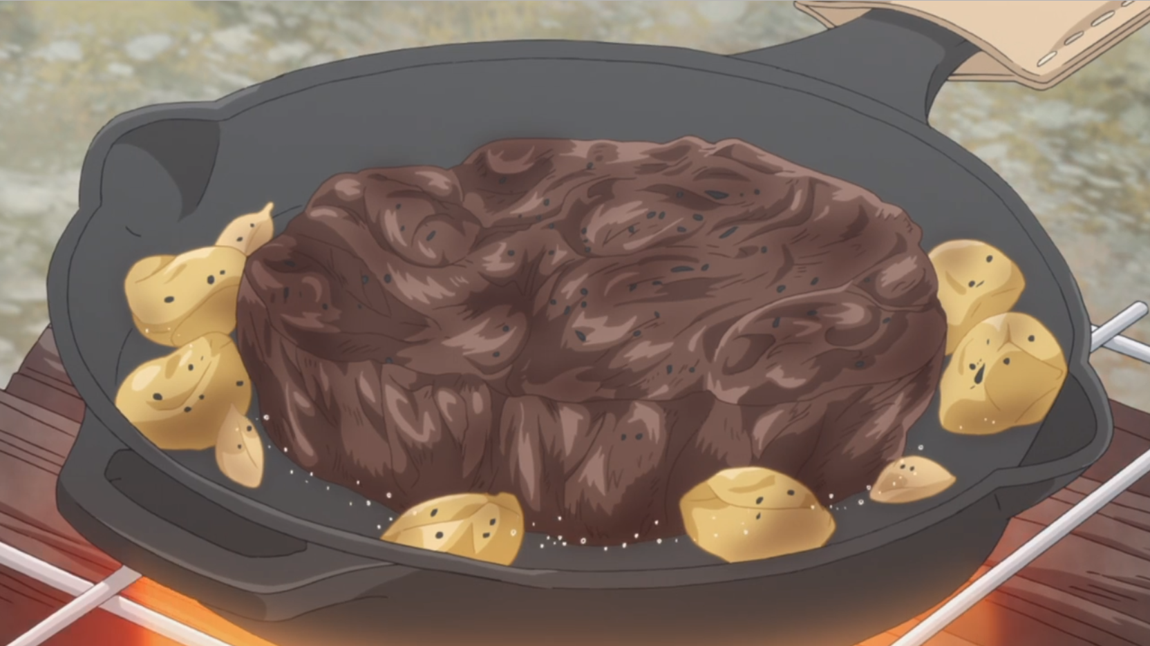 アニメ『ゆるキャン△』6話でダンディな老人がステーキを好きレットで焼くシーン