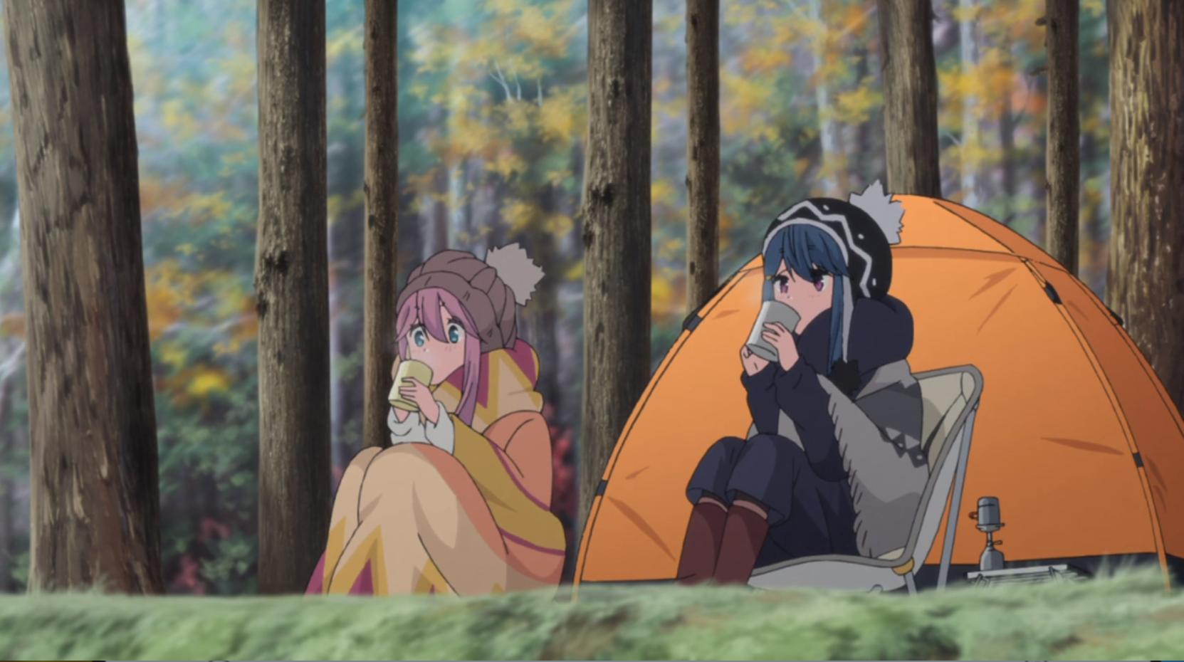 アニメ『ゆるキャン△』7話 のココアを飲むシーン