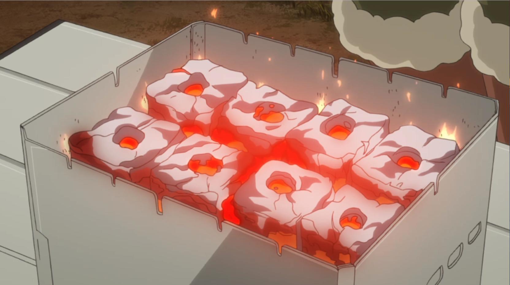 アニメ『ゆるキャン△』7話 の成型炭の使い方2