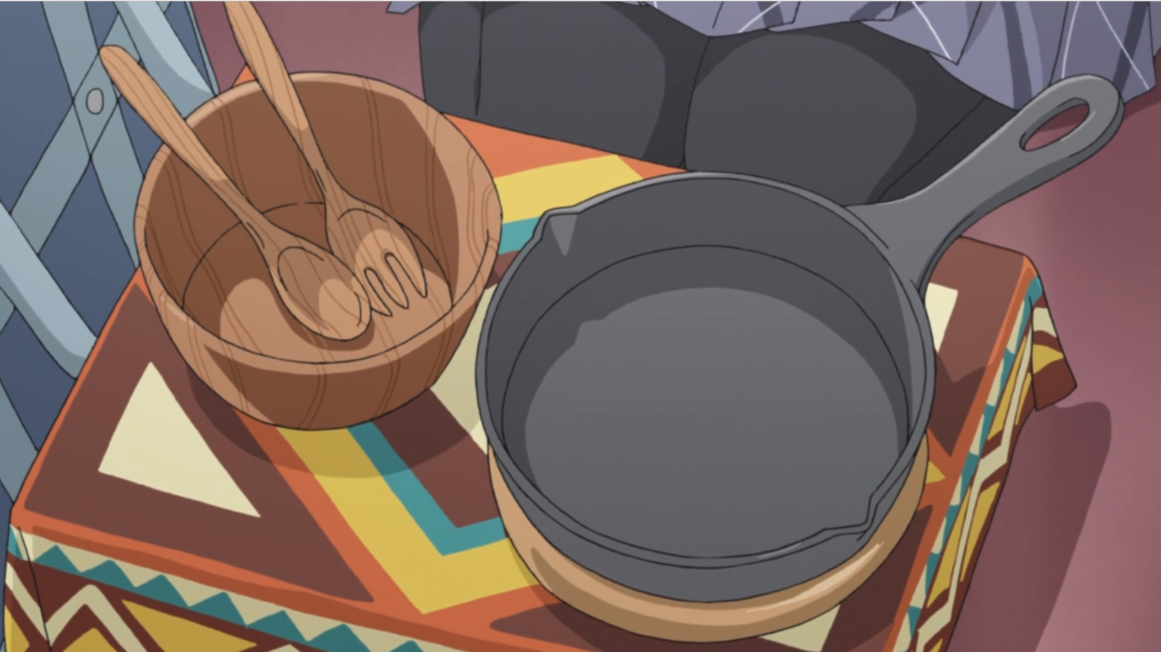 アニメ『ゆるキャン△』8話のスキレットや木皿たち