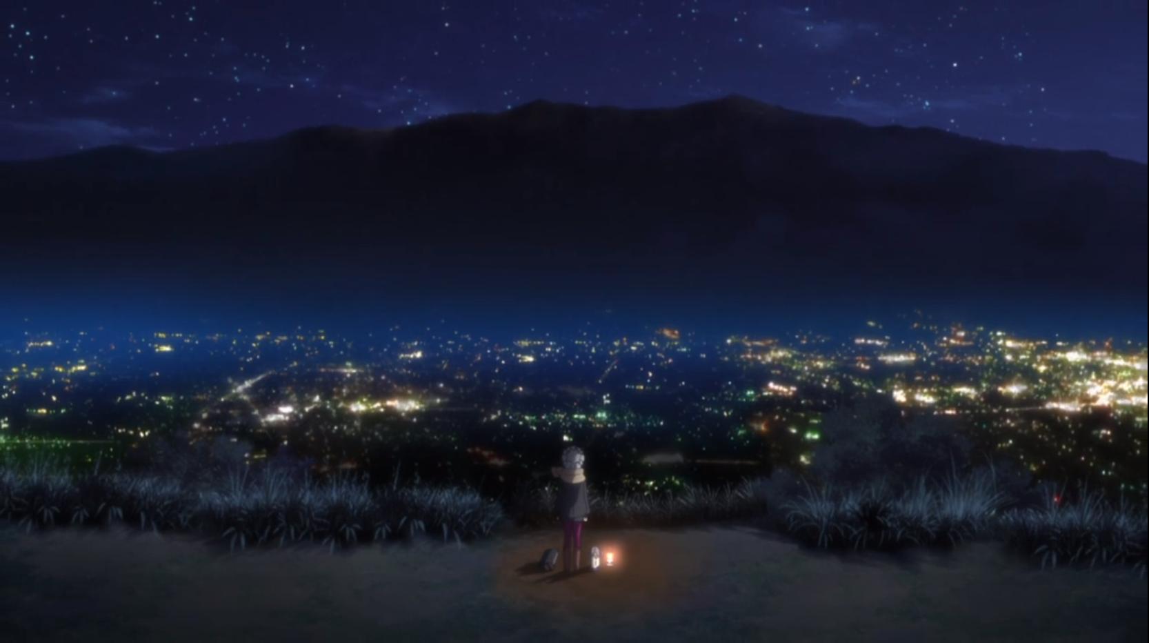 アニメ『ゆるキャン△』10話の陣馬形山キャンプ場の上からの景色