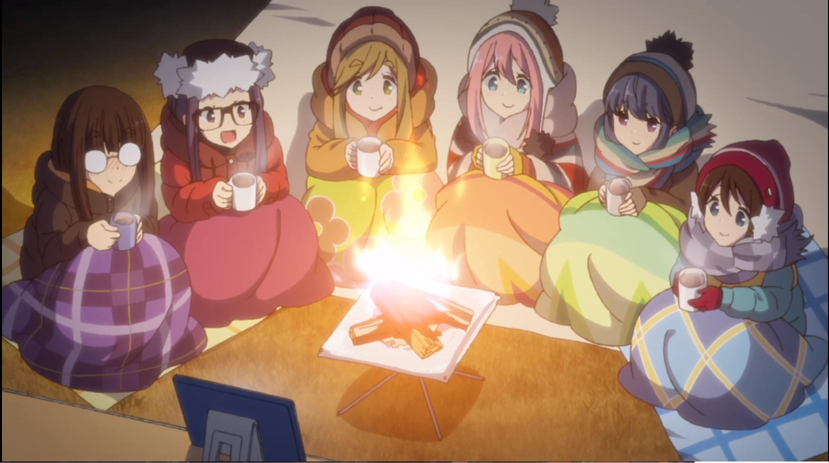 アニメ『ゆるキャン△』12話の朝霧高原キャンプ場で動画鑑賞