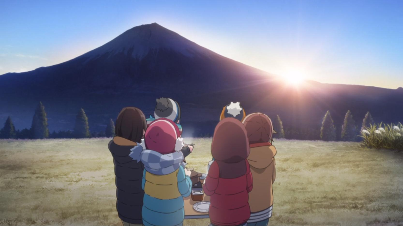 アニメ『ゆるキャン△』12話の朝霧高原キャンプ場の朝日