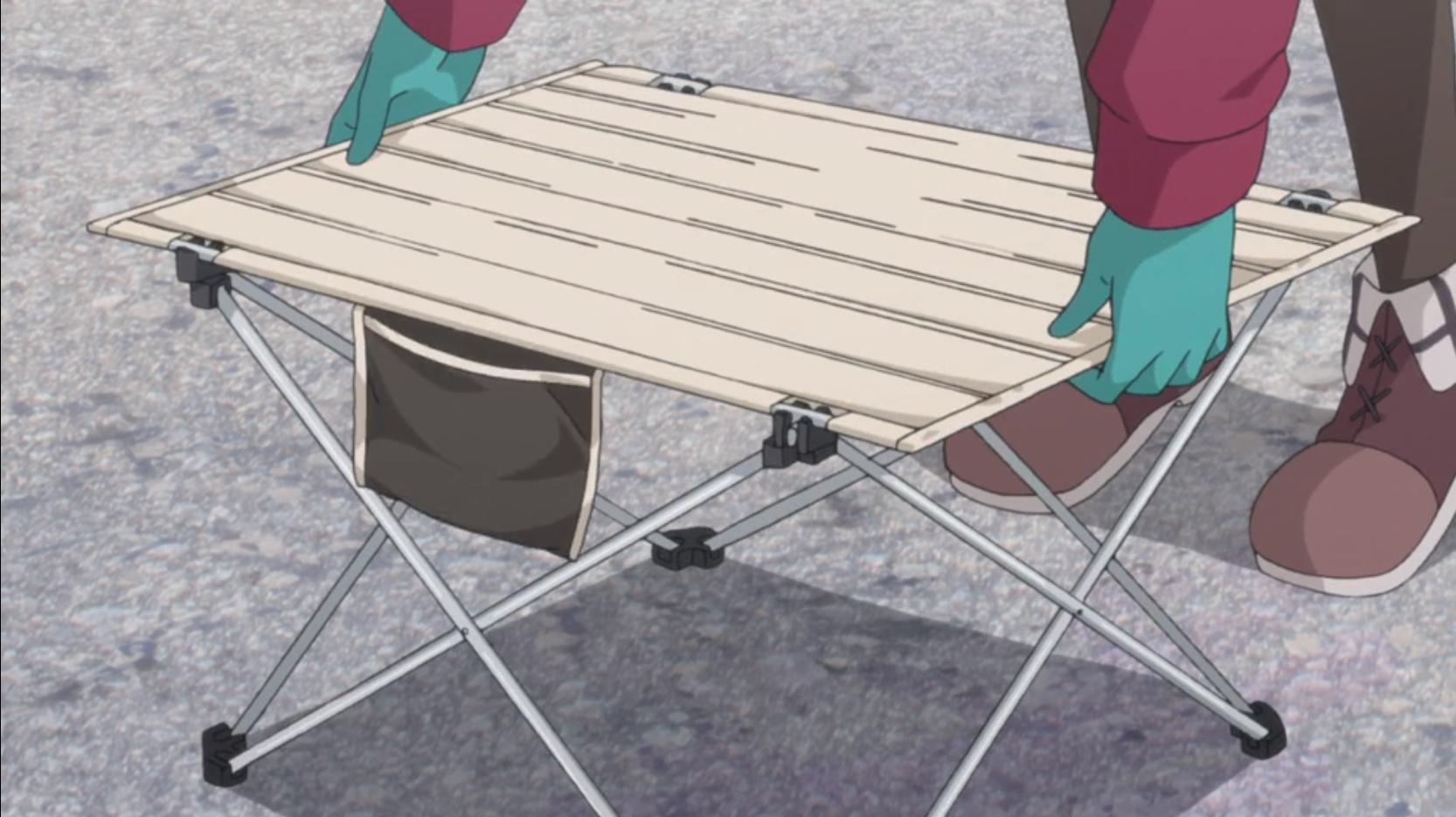 アニメ『ゆるキャン△』12話のなでしこのキャン道具テーブル